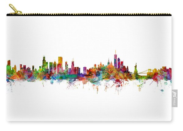 Chicago And New York City Skylines Mashup Carry-all Pouch