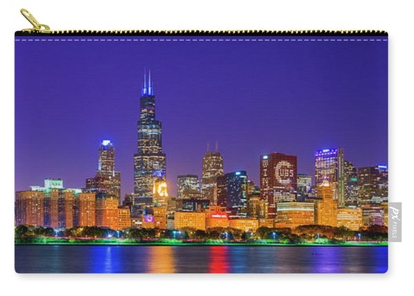 Chicago Skyline With Cubs World Series Lights Night, Lake Michigan, Chicago, Cook County, Illinois Carry-all Pouch
