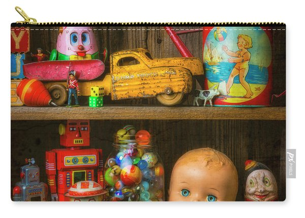 Childhood Toys On Old Shelf Carry-all Pouch