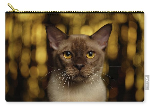 Closeup Portrait Burmese Cat On Happy New Year Background Carry-all Pouch