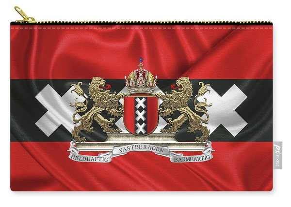 Coat Of Arms Of Amsterdam Over Flag Of Amsterdam Carry-all Pouch