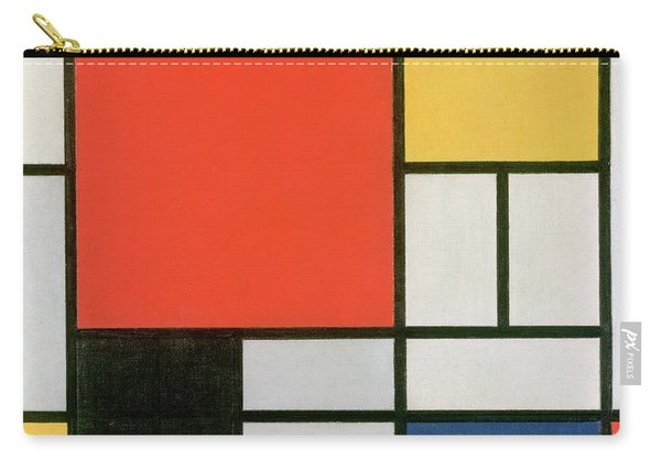 Composition In Red, Yellow, Blue And Black Carry-all Pouch