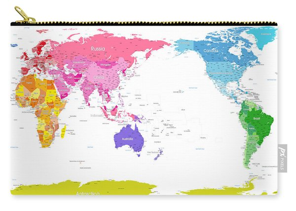 Continents World Map Carry-all Pouch