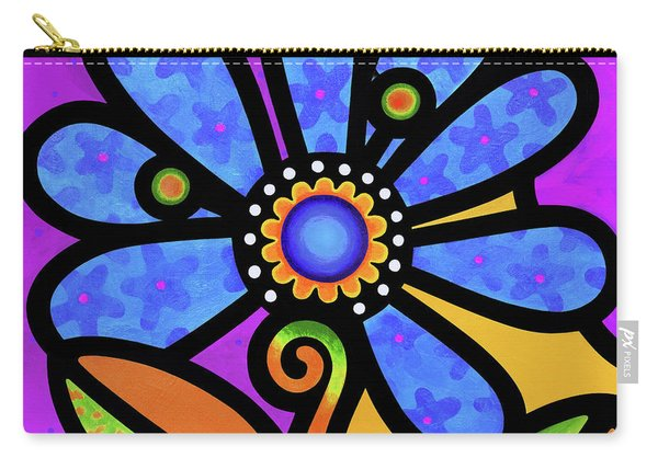 Cosmic Daisy In Blue Carry-all Pouch