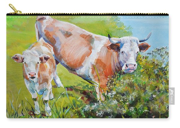 Cow And Calf Painting Carry-all Pouch