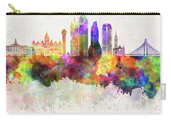 Dallas Skyline In Watercolor Background Carry-all Pouch
