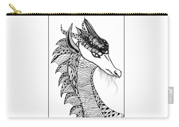 Carry-all Pouch featuring the drawing Dragon by Barbara McConoughey