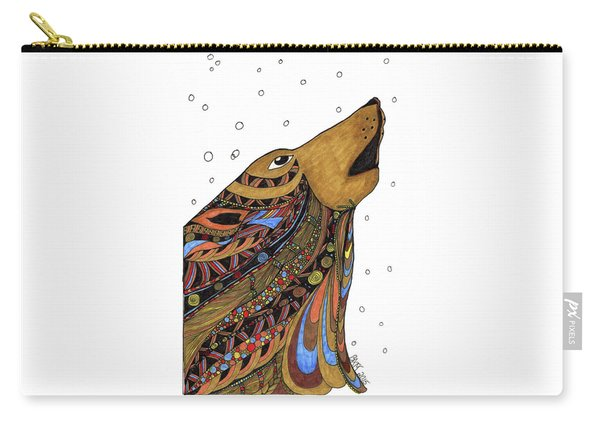 Carry-all Pouch featuring the drawing Eli Wolf by Barbara McConoughey
