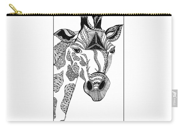 Carry-all Pouch featuring the drawing Giraffe by Barbara McConoughey