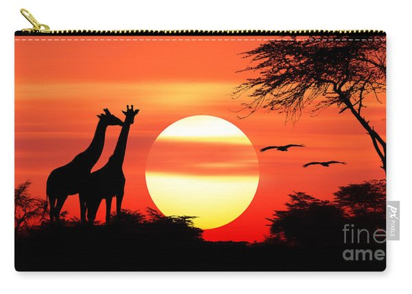 Giraffes At Sunset Carry-all Pouch