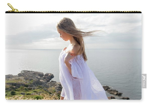 Girl In A White Dress By The Sea Carry-all Pouch