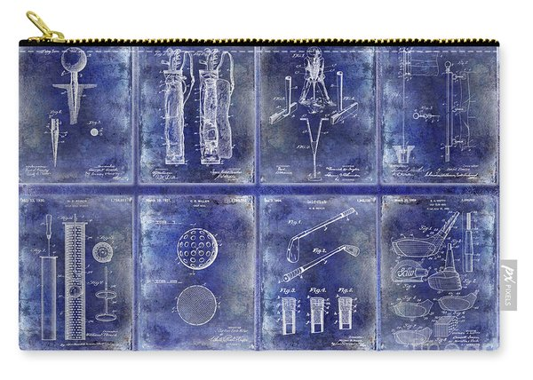 Golf Patent History Drawing Blue Carry-all Pouch