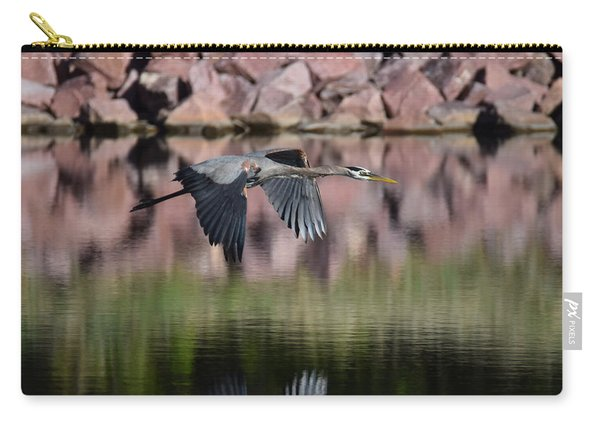 Carry-all Pouch featuring the digital art Great Blue Heron by Margarethe Binkley