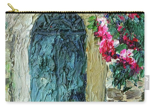 Green Italian Door With Flowers Carry-all Pouch