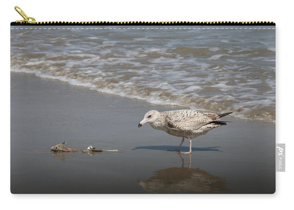 Carry-all Pouch featuring the photograph Gull With Fish  by Christy Pooschke