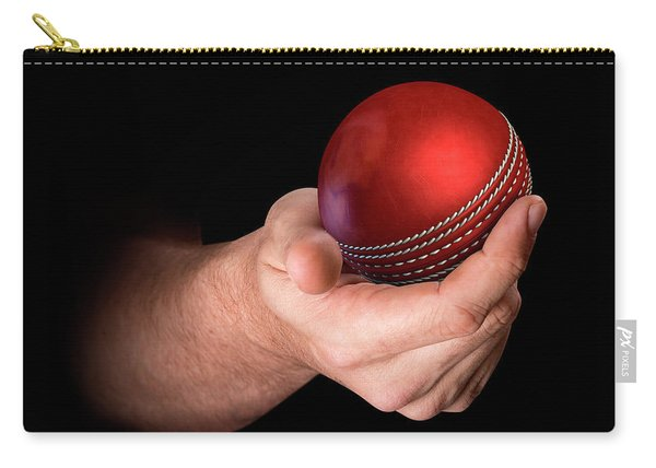 Hand Holding Cricket Ball Carry-all Pouch