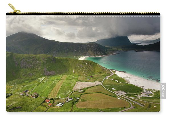 Haukland Valley And Beach From Mannen Carry-all Pouch