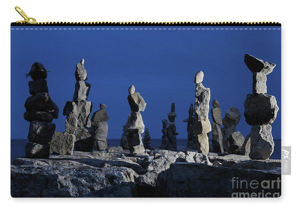 Human Figures Made From Stones At Night Carry-all Pouch