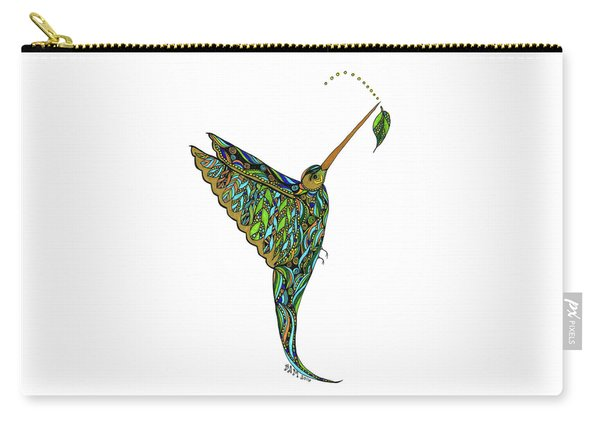 Carry-all Pouch featuring the drawing Hummingbird by Barbara McConoughey