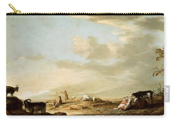 Landscape With Cattle And Figures Carry-all Pouch