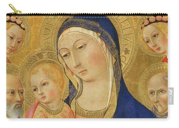 Madonna And Child With Saint Jerome, Saint Bernardino, And Angels Carry-all Pouch