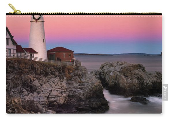 Maine Portland Headlight Lighthouse At Sunset Panorama Carry-all Pouch