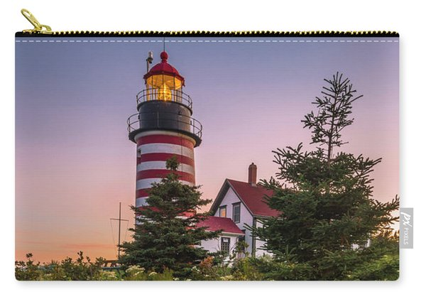 Carry-all Pouch featuring the photograph Maine West Quoddy Head Light At Sunset by Ranjay Mitra