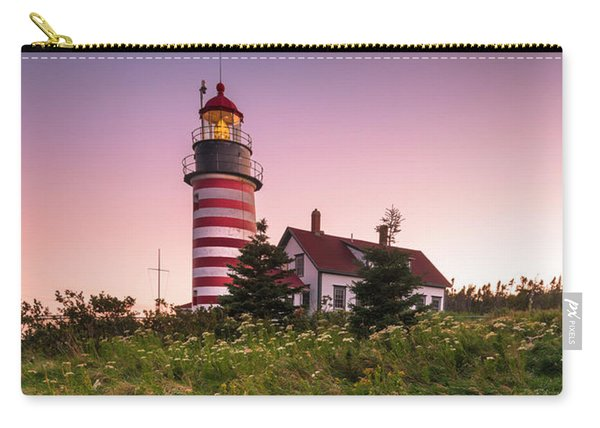Carry-all Pouch featuring the photograph Maine West Quoddy Head Lighthouse Sunset by Ranjay Mitra