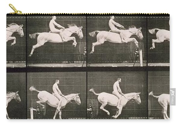 Man And Horse Jumping A Fence Carry-all Pouch