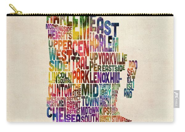 Manhattan New York Typographic Map Carry-all Pouch