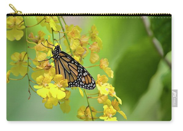 Monarch Butterfly On Yellow Orchids Carry-all Pouch