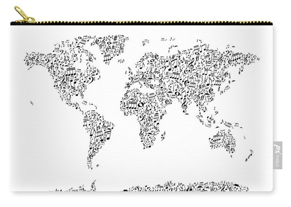 Music Notes Map Of The World Carry-all Pouch