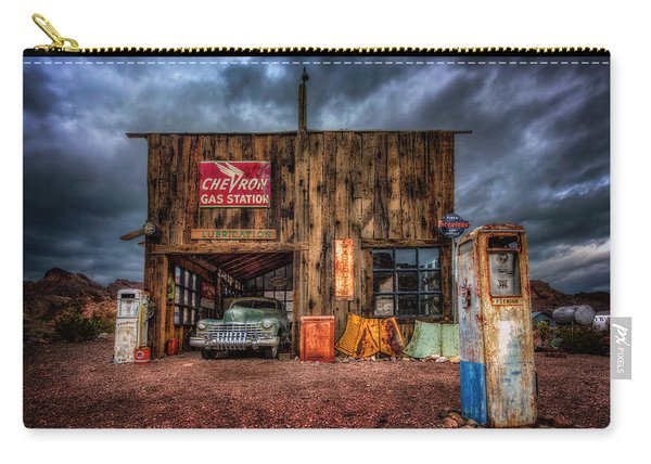 Nelson Nevada, Weathered Garage, Car, And Gas Pump Carry-all Pouch