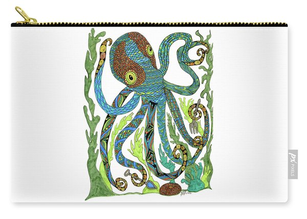Carry-all Pouch featuring the drawing Octopus' Garden by Barbara McConoughey
