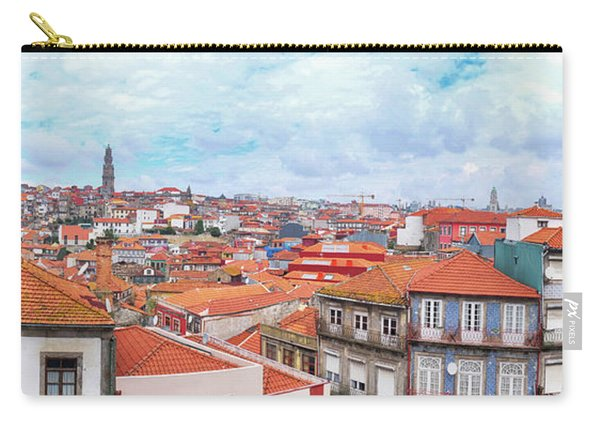 Carry-all Pouch featuring the photograph panorama of old historic part of Porto by Ariadna De Raadt
