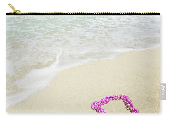 Pink Lei On Beach - Hipster Photo Square Carry-all Pouch