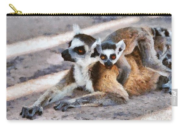 Ring Tailed Lemur With Baby Carry-all Pouch
