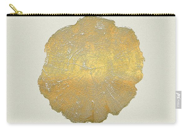Rings Of A Tree Trunk Cross-section In Gold On Linen  Carry-all Pouch