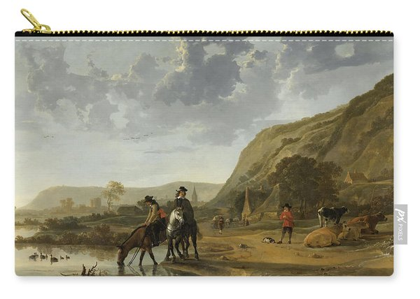 River Landscape With Horsemen Carry-all Pouch