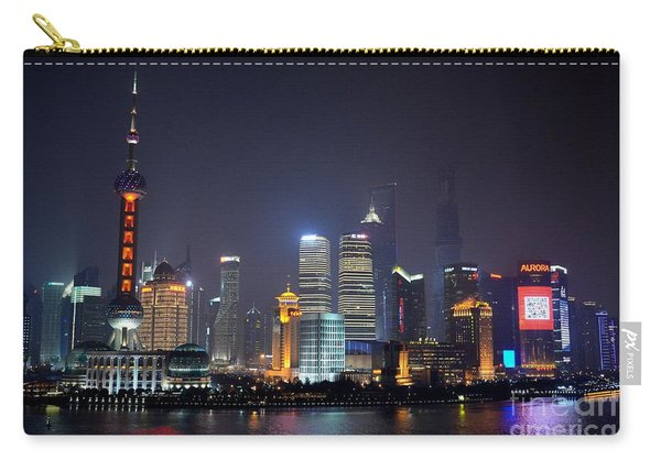 Shanghai China Skyline At Night From Bund Carry-all Pouch