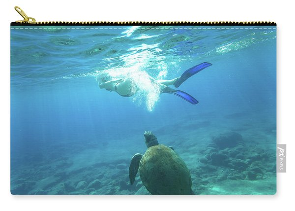 Carry-all Pouch featuring the photograph Snorkeler Female Sea Turtle by Benny Marty