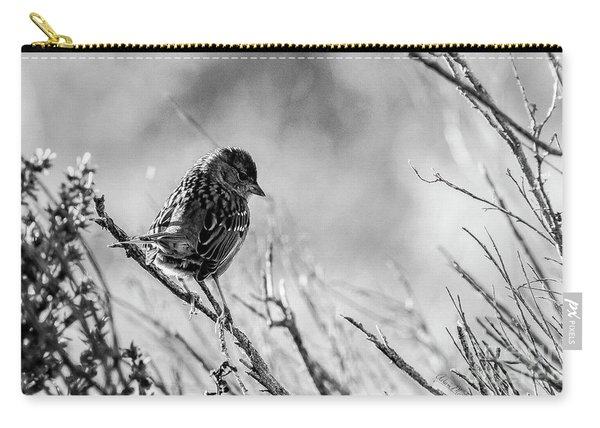 Snarky Sparrow, Black And White Carry-all Pouch