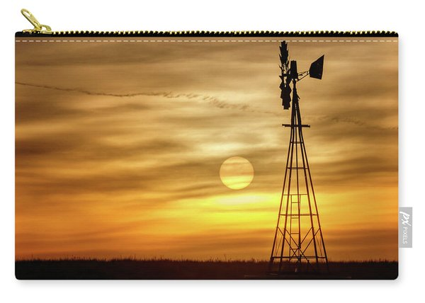 Carry-all Pouch featuring the photograph Sunset And Windmill by Rob Graham