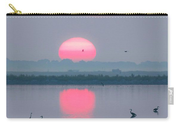 Carry-all Pouch featuring the photograph Sunrise At Cheyenne Bottoms -02 by Rob Graham