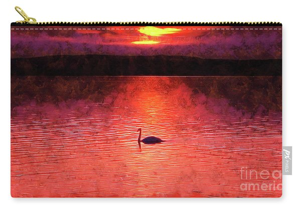 Swan In The Sunset Painting Carry-all Pouch