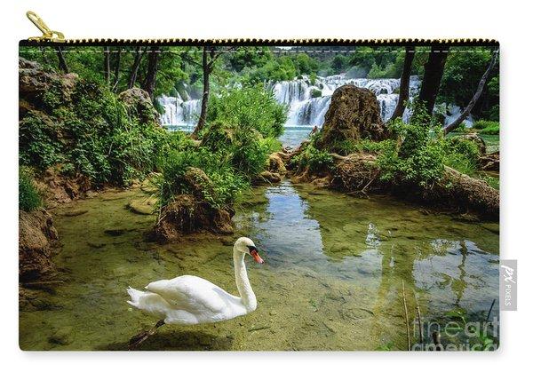 Swan In The Waterfalls Of Skradinski Buk At Krka National Park In Croatia Carry-all Pouch