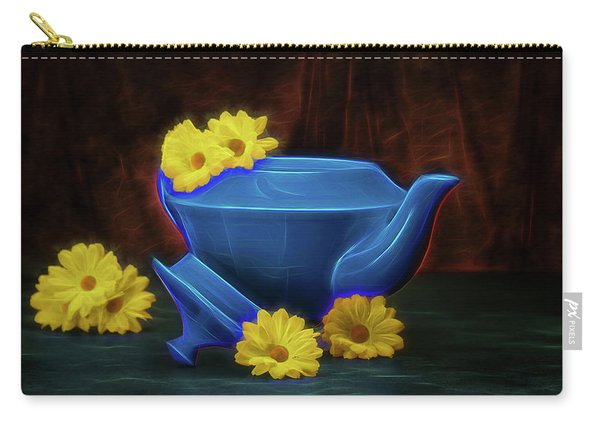 Tea Kettle With Daisies Still Life Carry-all Pouch