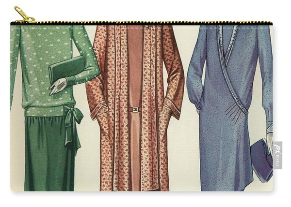 Three Flappers Modelling French Designer Outfits, 1928 Carry-all Pouch