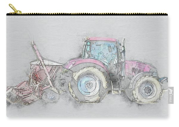 Tractor On Grey Background Carry-all Pouch