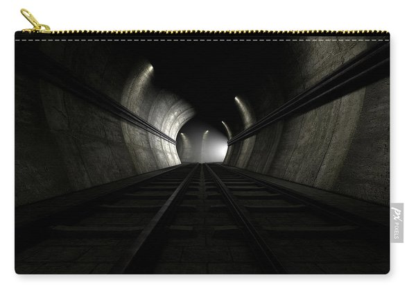 Train Tracks And Approaching Train Carry-all Pouch